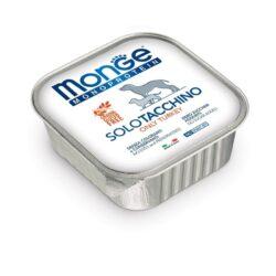 MONGE MONOPROTEICO konservuotas pašaras šunims pagamintas iš vienos rūšies mėsos. Kalakutiena